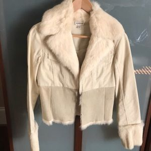 Bebe rabbit fur corduroy jacket